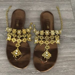 Metallic Bronze & Gold Jeweled Thong Sandals